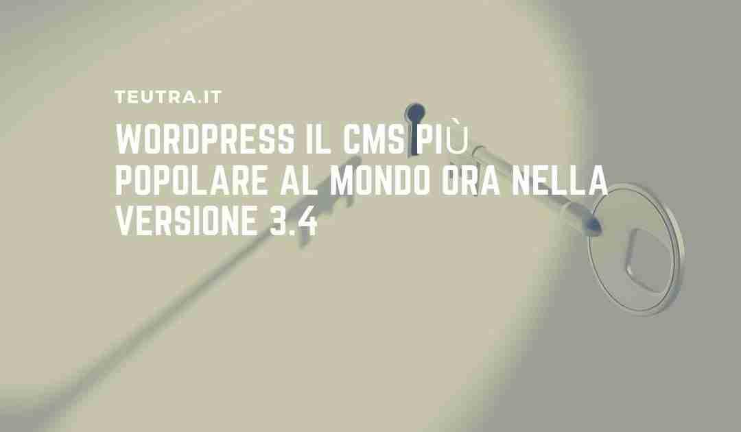 WordPress il CMS più popolare al mondo ora nella versione 3.4