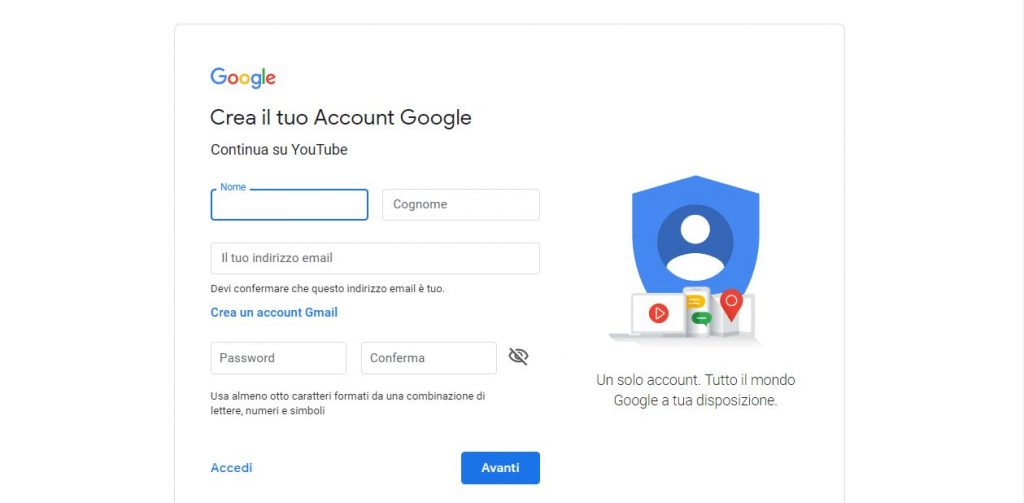 come creare un account youtube