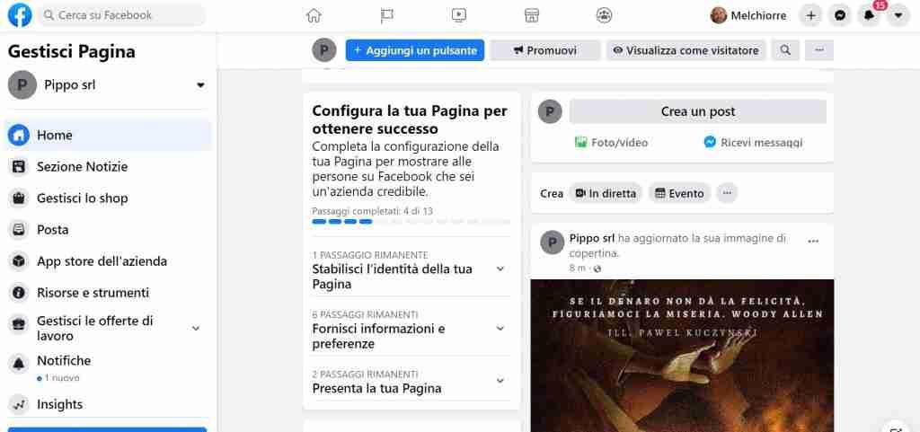 configurare pagina facebook